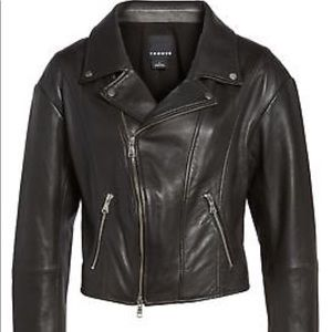 TROUVE Black Leather Jacket Sz XS Lightweight NWOT